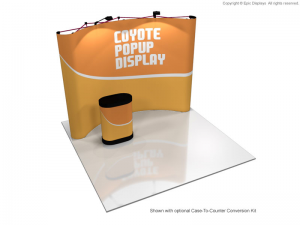 8 foot Coyote curved pop up display graphic kit