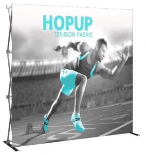 8' Wide Hop Up Straight Display with Front Fabric Graphics