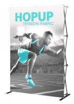 View: 5' Wide Hop Up Straight Fabric Tower Display with Front Graphic