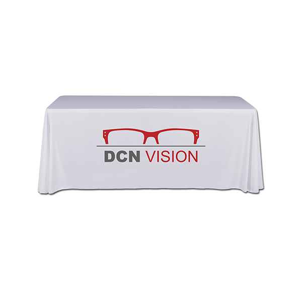 Radius 4 sided table covers for 6ft standard height tables with 2 color express scan graphics