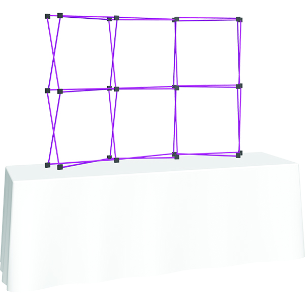 Orbus Coyote 8ft Mini Pop Up Display lightweight aluminum frame with purple finish
