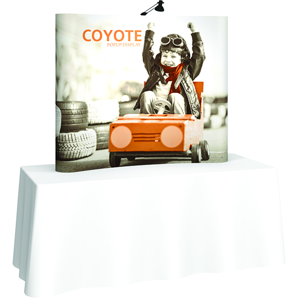 Orbus Coyote Mini Pop Up Display with full wrap-around graphics and end caps