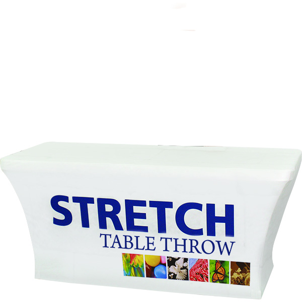 Orbus 6ft stretch table throw comes with full color dye-sub graphics