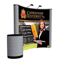 Orbus 8' Coyote Popup with front graphics mural fabric endcaps