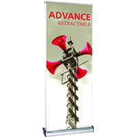 Retractable banner with shelf and literature pocket options