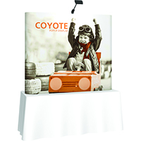 Orbus Coyote 6ft Table top displays with custom graphics and end caps, straight or curved