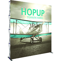 HopUp 4x4' Straight Trade Show display with custom printed graphic