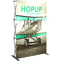 5x8 foot full height tension fabric display, front graphics