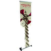 Orbus Phoenix Mini Retractable Banner Stand extends from tabletop to full height
