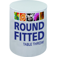 Fitted Dye-Sub Graphics Table Throw for Round Tables in 2 different heights, 4 sizes