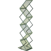 Orbus ZedUp Lite Collapsible Literature rack and brochure stand comes in anodized silver with 5 year mfgr warranty