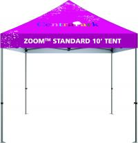 10ft event tent with custom printed graphics