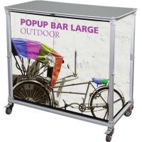 Orbus Popup display with front and side custom fabric graphics