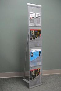Orbus Reveal Pro literature stand rolls-up into bag, silver durable fabric